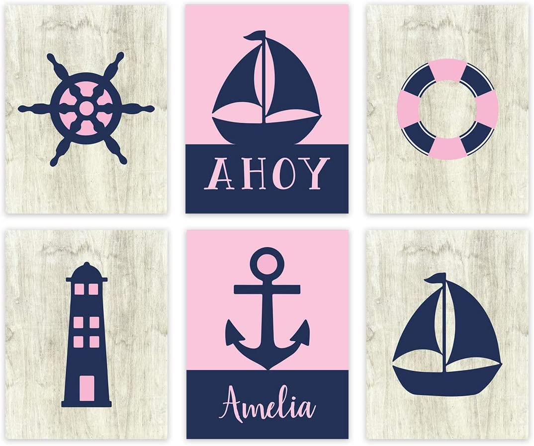 Andaz Press Personalized Girls Ocean Nautical Sailor Theme Nursery Kids Bedroom Hanging Wall Art Decor, 8.5x11-inch, Pink Navy Blue, Ahoy, Boat, 6-Pack, Custom Name Unframed Poster