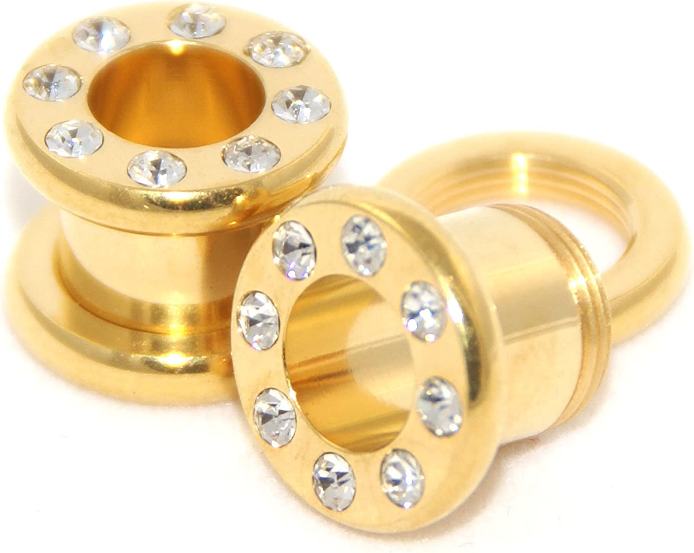 1Pair Crystal Zircon Ear Plug Tunnel Earring Cartilage Expanders Gauges Screw Fl
