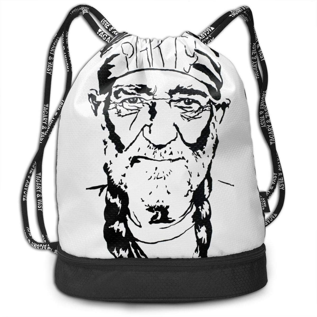 Chenjunyi Willie Nelson Drawstring Backpack Foldable Gym Tote Dance Bag for Swimming Shopping Sports Women Men Boys Girls