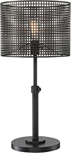 Lite Source Hamilton Black Metal Grid 1-Light Table Lamp