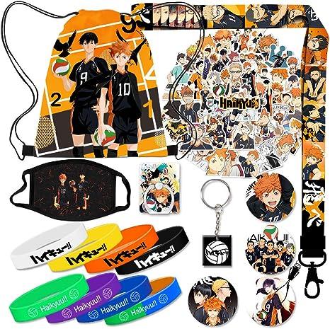 Anime Haikyuu Gift Sets Keychains Lanyards Haikyuu Stickers Card Holders Including Drawstring Bag Backpack