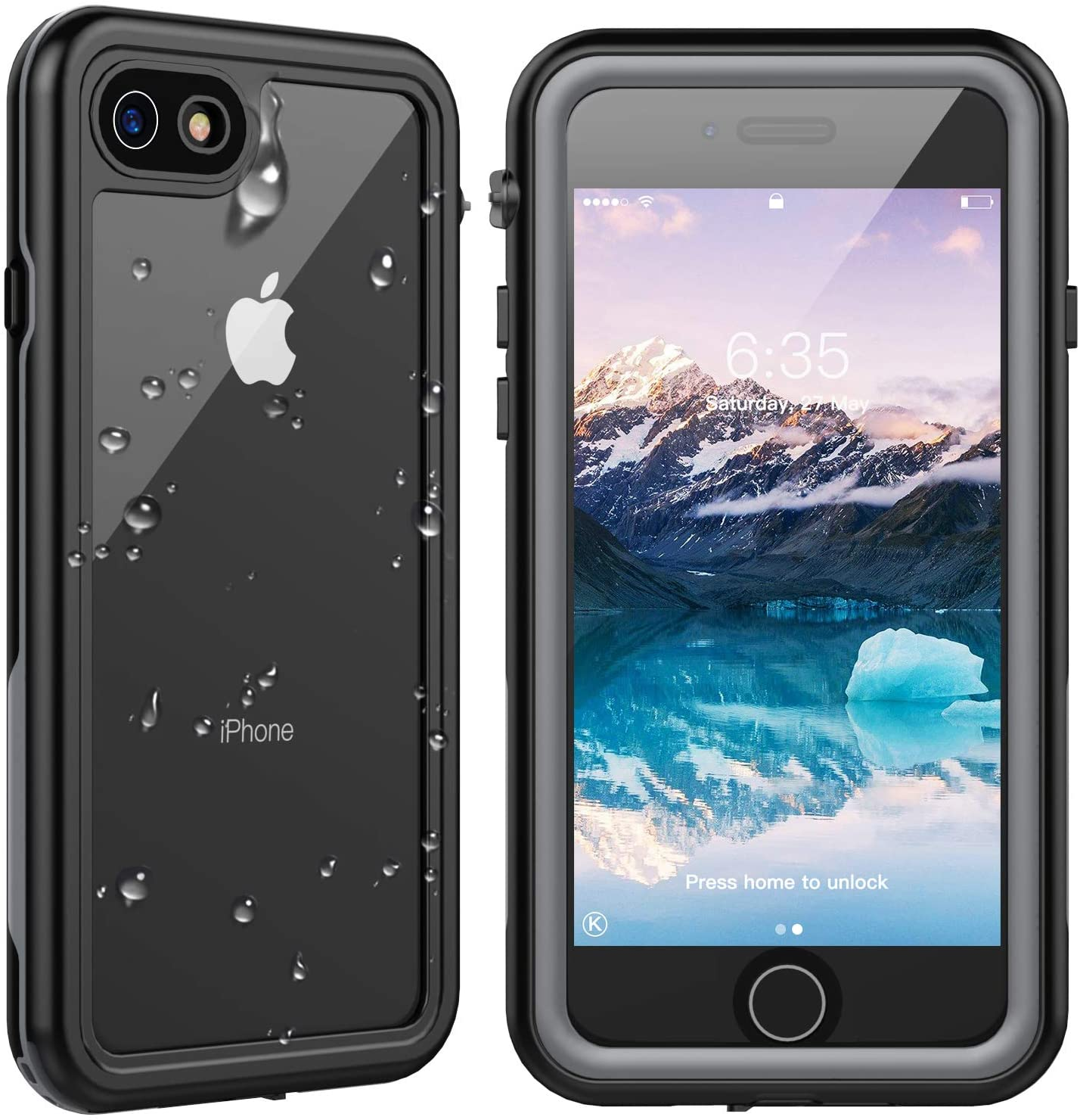 Amazon Com Spidercase For Iphone Se 2020 Case Iphone 8 7 Waterproof Case Built In Screen Protector Full Rugged Protective Case Shockproof Dirtproof Snowproof Case For Iphone Se 2020 8 7 4 7 Inch Grey Clear