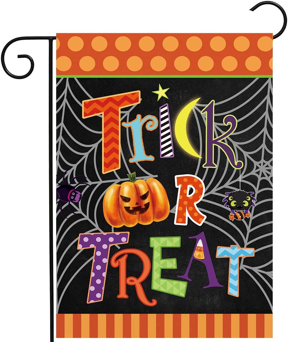 Allenjoy Trick or Treat Halloween Pumpkin Garden Flag for Outside Mailbox Vertical Night Witches Farmhouse Yard Sign Customizable Patio Outdoor Decors 12x18 Double Sided Washable Polyester UV-Resist