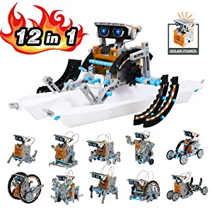 Lucky Doug Solar Robot Kit, 12-in-1 STEM Robot Science Kit Toys for Kids Aged 8-16, Educational DIY Assembly Creation Set with Solar Powered Motorized Engine, Science Experiment Set for Students Teens