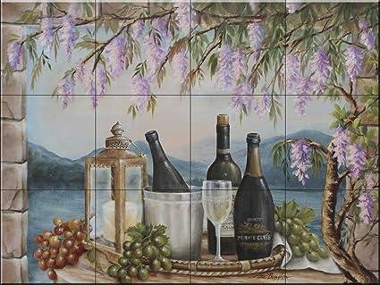Murale di piastrelle di ceramica vino e glicine da rita