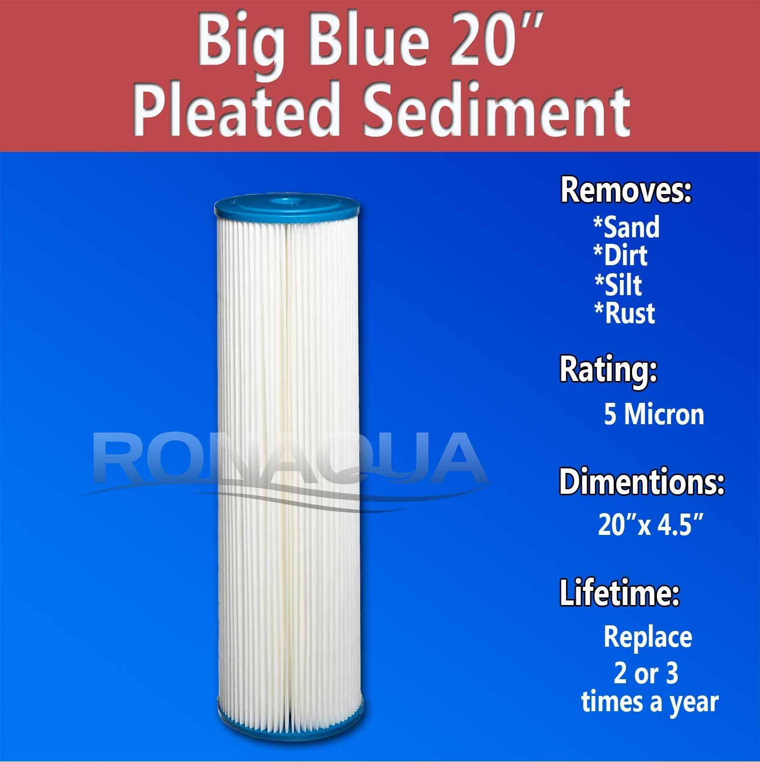 Big Blue Pleated Washable /& Reusable Sediment Filter 5 Micron Amplified Surface Area Silt Rust Removes Sand Set of 8 Extended Filter Life for 20 Big Blue Housing Dirt