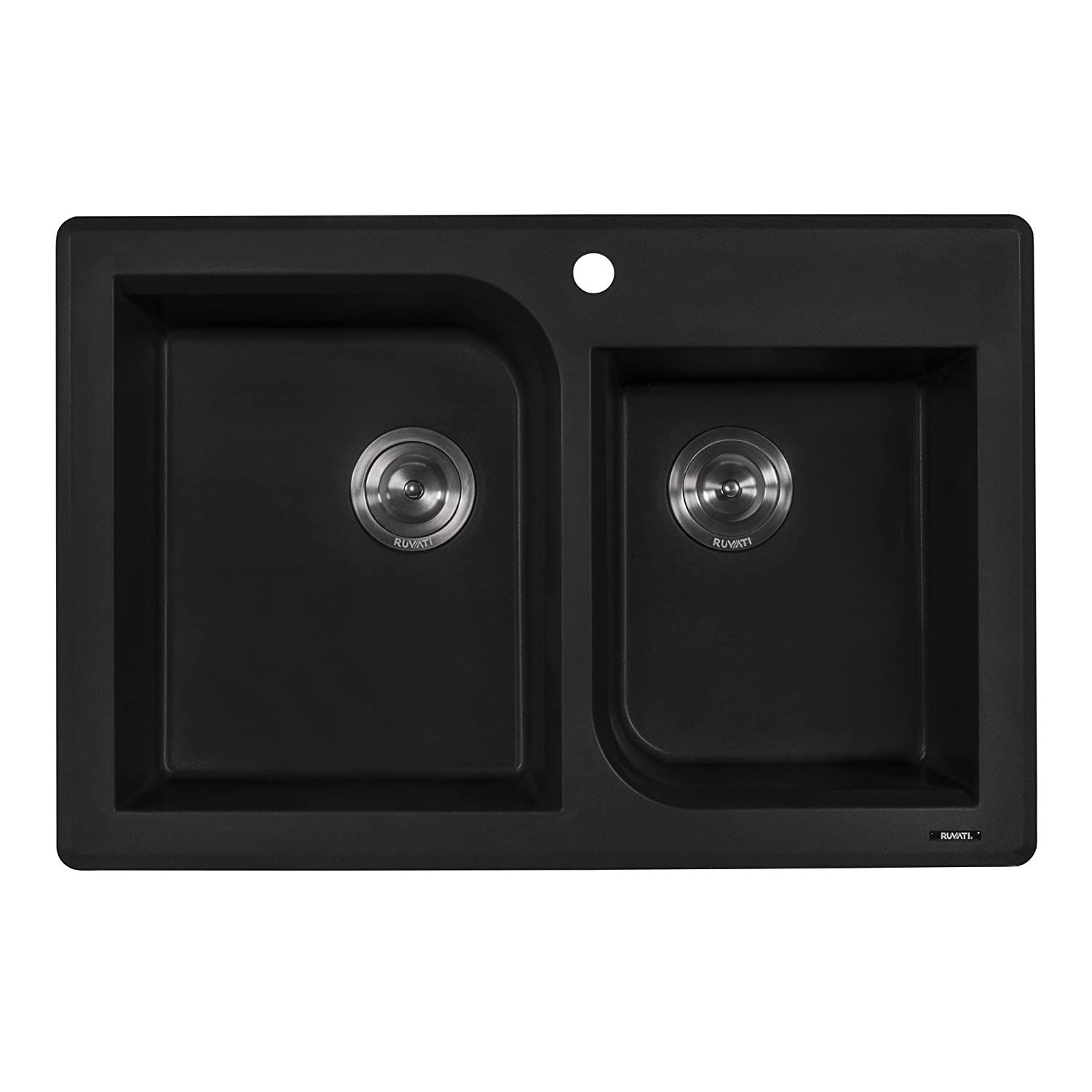 Ruvati 33 x 22 inch Dual-Mount Granite Composite Double Bowl Kitchen Sink – Midnight Black – RVG1396BK