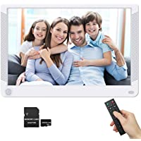 Digital Photo Frame 10.1 Inch 1920x1080 16:9 Wide Viewing Angle IPS Screen, Motion Sensor, Photo Auto Rotate, Auto Play, Auto Turn On/Off, Background Music, 1080P Video Frame, Include 32GB SD Card