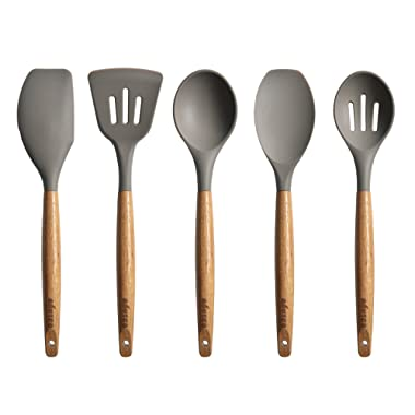 Miusco Kitchen Utensils Set Silicone Cooking Utensils with Natural Acacia Hard Wood Handle