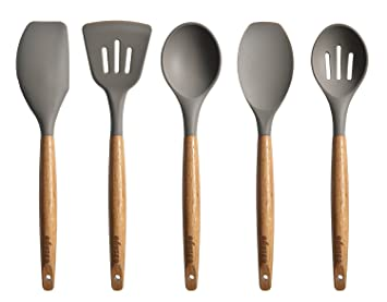 kitchen utensils. Miusco 5 Piece Silicone Cooking Utensil Set With Natural Acacia Hard Wood Handle, Grey: Amazon.co.uk: Kitchen \u0026 Home Utensils