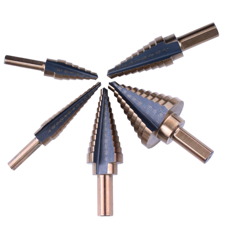 NC03 Nouvcoo 5PCS HSS Cobalto Titanium Step Drill Bit Set Strumenti Alta Velocit/à in Acciaio Totale 50 Misure con Alluminio con Custodia