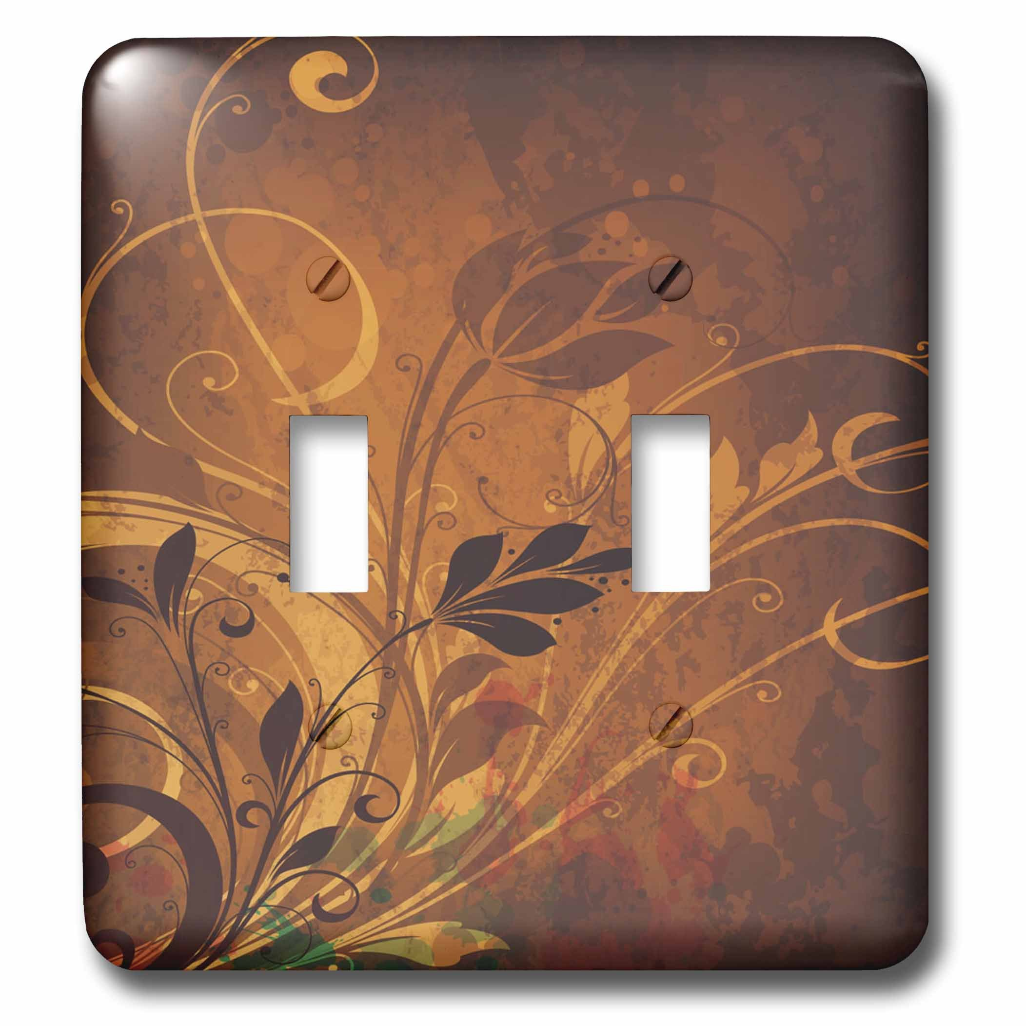 3dRose lsp_78562_2 Pretty Brown and Tan Flower Flourishes - Double Toggle Switch
