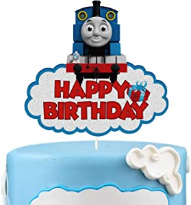 LYNHEVA Glitter Thomas and Fiends Happy Birthday Cake Topper, Thomas The Tank Engine Cake Topper, Steam Train Theme Birthday Party Supplies, Kids Bday Favor