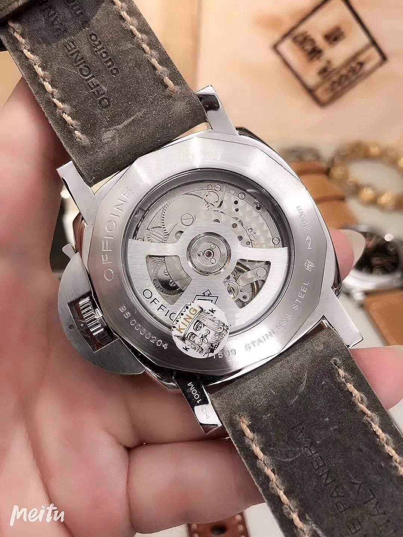 Orologio luminoso da uomo di meccanico automatico in acciaio inossidabile con cinturino in pelle marrone nero argento con riserva di carica 5