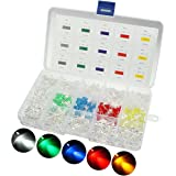 LED Light Emitting Diodes, Elfeland 5mm Colored / Clear / Milky 2pin Round Head Leds Yellow Red Blue Green White Assorted Kit for Arduino DIY (5 colors x 60pcs)