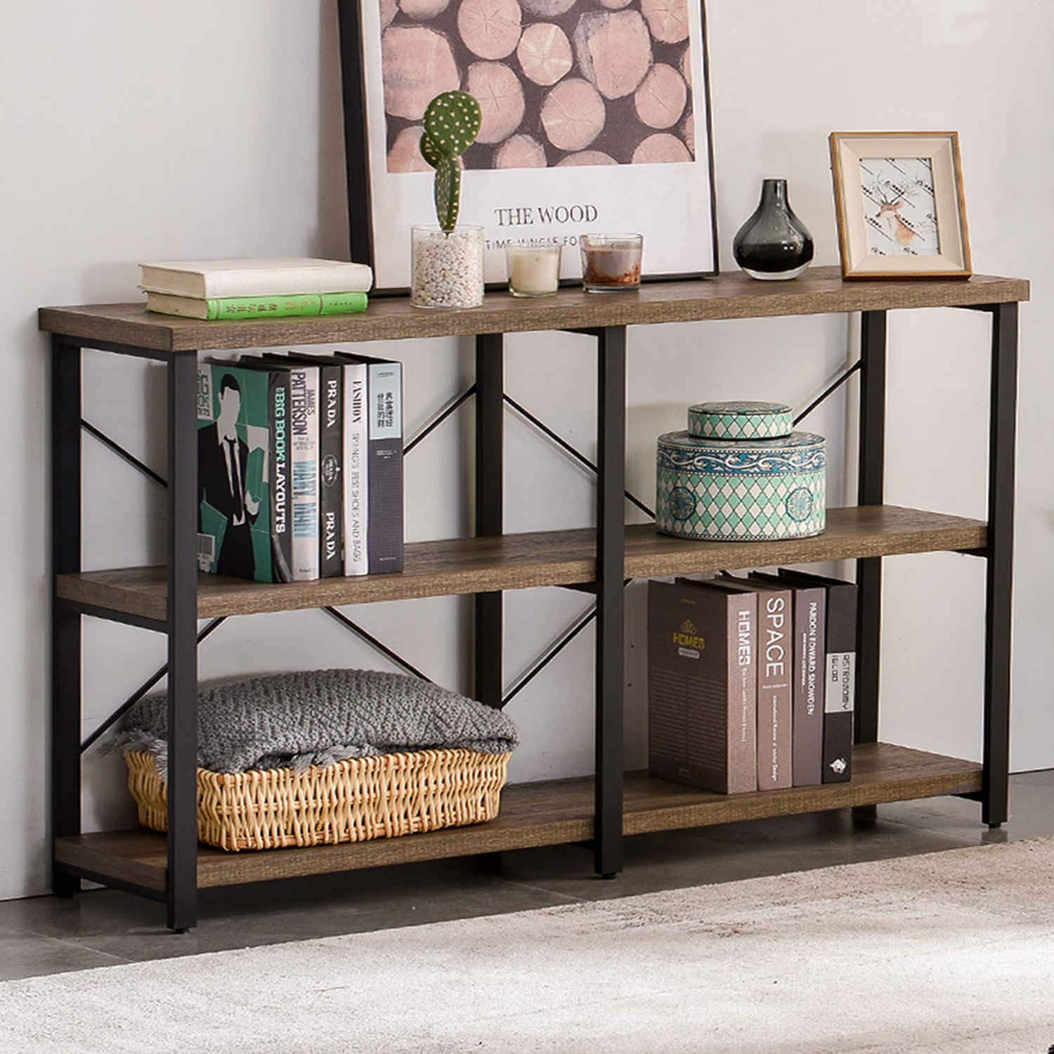 GRELO HOME Rustic Entryway Table, Tv Console Table with Storage Shelf,Metal and Wood Entry Table, Industrial Sofa Table for Living Room, Oak 55 Inch by GRELO HOME