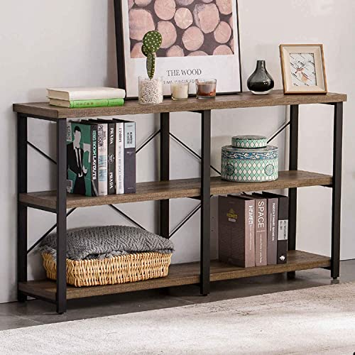 GRELO HOME Rustic Entryway Table, Tv Console Table with Storage Shelf, Metal and Wood Entry Table, Industrial Sofa Table for Living Room, Gray Oak 55 Inch