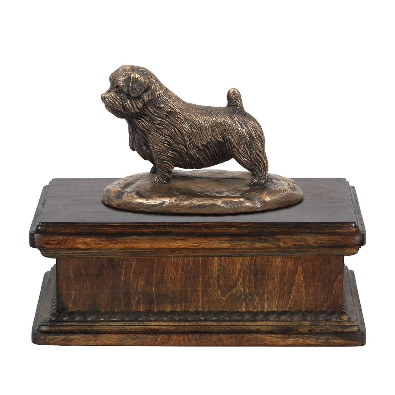 Norfolk Terrier, memorial, urn for dog's ashes, with dog statue, exclusive, ArtDog