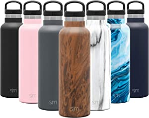 Simple Modern 20oz Ascent Water Bottle - Hydro Vacuum Insulated Tumbler Flask w/Handle Lid - Brown Double Wall Stainless Steel Reusable - Leakproof Pattern: Wood Grain