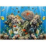 Jannyshop Llustración de Fondo del Acuario Pegatina de Acuario Impermeable con Coral