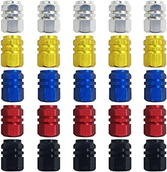 Finegood 25 Stück Kunststoff Ventilkappen Reifenventil Staubkappen Für Auto Motorrad Lkw Fahrrad Verhindern Luftlecks Gold Silber Rot Blau Schwarz Auto