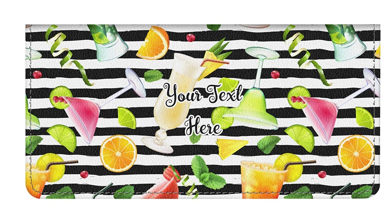 Personalized Cocktails Genuine Leather Checkbook Cover