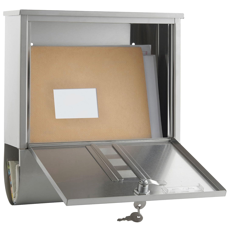 Wasserdicht /& Abschlie/ßbar Grau VonHaus Wandbriefkasten aus Edelstahl mit Zeitungsfach Aufklappbarer Regendach
