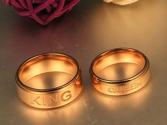 Bishilin 2 PCS de Acero Inoxidable Anillo para Mujeres Hombres con Grabado KING QUEEEN Alto Pulido Ronda 8/6 MM Anillos de Compromiso Bodas Oro Rosa Mujer ...