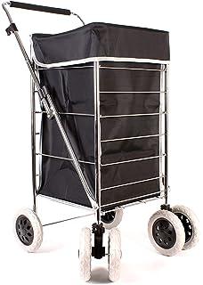 80f7f6699d Premium 6 Wheel Swivel Shopping Trolley with Adjustable Handle Plain Black  with Grey Trim