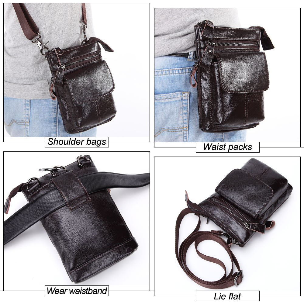 XINXI-MAO Mens Waist Bag First Layer of Leather Multi-Function Business Package Leather Belted Mobile Phone Bag with Strap Color : Black, Size : M