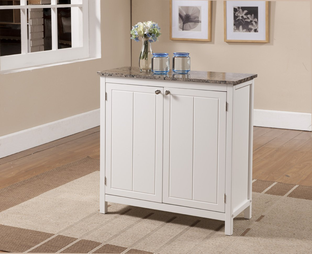 Amazon com kings brand white with marble finish top kitchen island storage cabinet kitchen islands carts