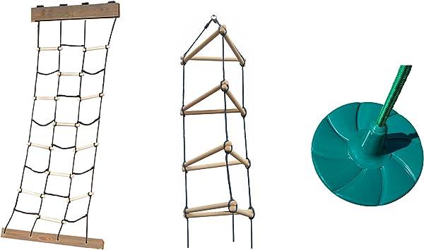 Red de escalada de carga, escalera de cuerda triangular y columpio de disco – Incluye accesorios de