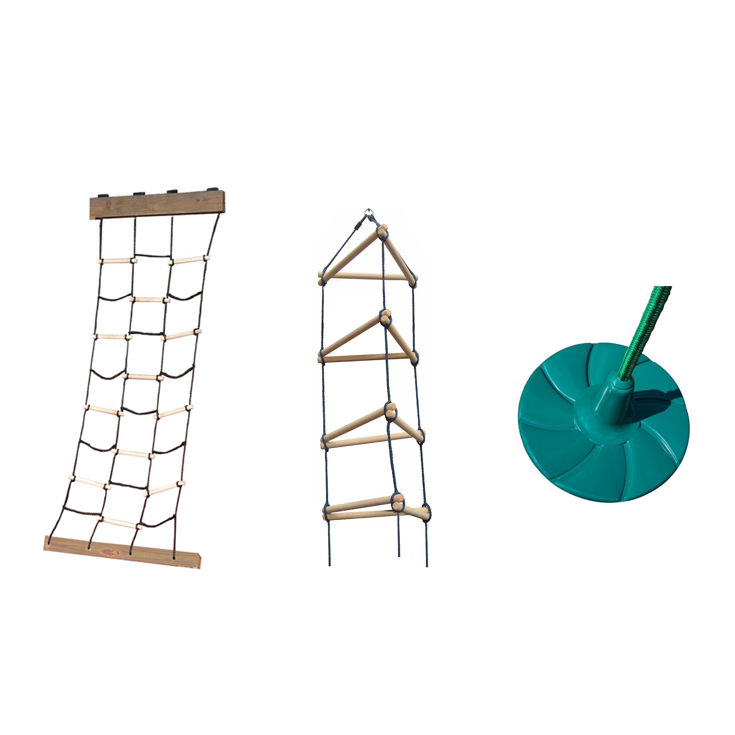 Cargo Climbing Net, Triangle Rope Ladder and Disc Swing Bundle - Includes Climbing Accessories and Disc Swing for Outdoor Swing Sets, Backyard Play Sets, etc. by Swing-N-Slide
