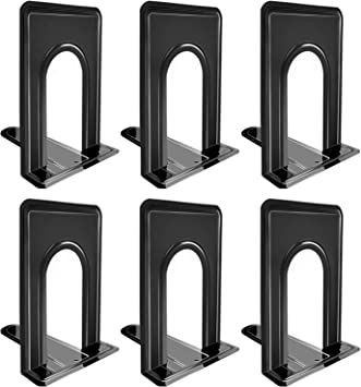8.2 x 5.2 x 6.5 inch Black Sturdy and Nonskid DVDs Dorm Home Magazines Heavy Duty Metal Book Ends Supports for Books 2 Pairs //4 Pieces Metal Bookends School Great for Office