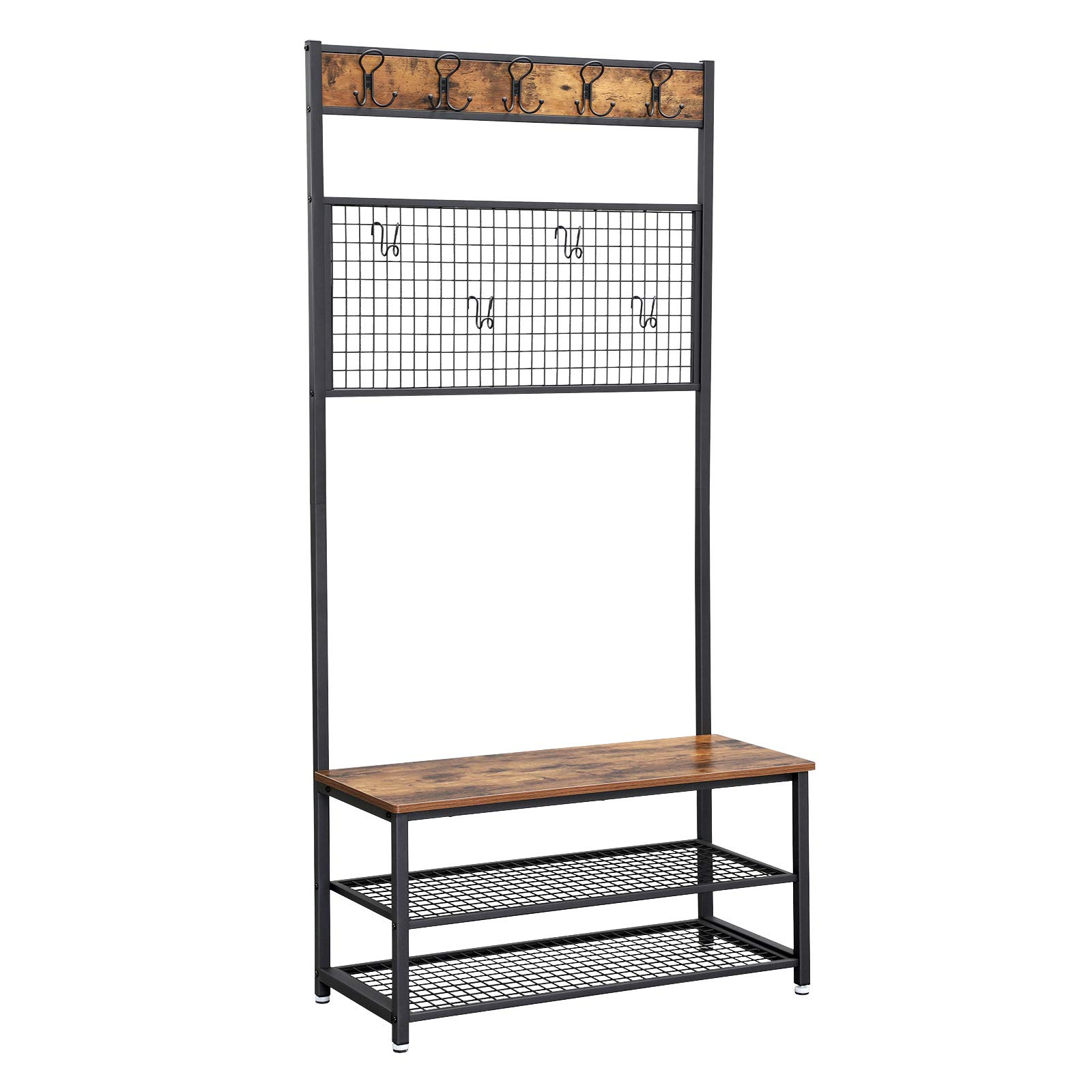 VASAGLE Industrial Coat Stand, Shoe Rack Bench with Grid Memo Board, 9 Hooks and Storage Shelves, Hall Tree with Stable Metal Frame, Rustic Brown UHSR46BX by VASAGLE