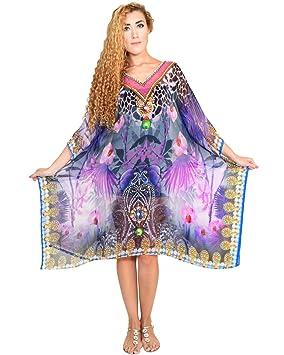 Bayside Barcelona Cuello en V Morado Caftan de Las Mujeres de la Cristales embellecidos Digital Kimono