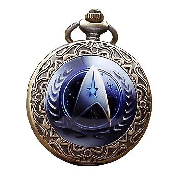 4d4a05ffa5c GORBEN Vintage Star Trek Steampunk Quartz Pocket Watch Necklace with Chain  for Men Women(Blue
