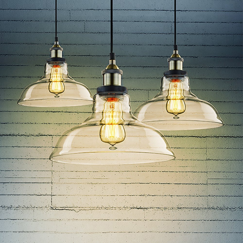 CLAXY Ecopower Industrial Edison Vintage Style 1-Light Pendant Glass Hanging Light by CLAXY (Image #5)