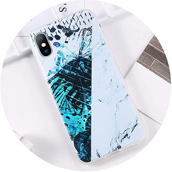HANBINGPO Glitter Powder Marble Phone Case for iPhone 7 Plus Case for iPhone X XS Max