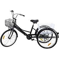 """Yonntech 24"""" Tricycle Adulte 7 Vitesses Gears vélo Femme/vélo Homme vélo de Ville vélo Hollandais Panier Inclus"""