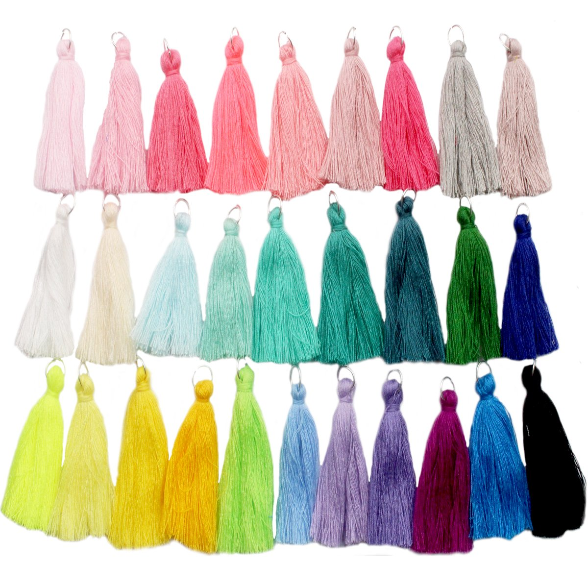 29pcs of 2 Inch Mini Tassels DIY Cotton Thread Tassels Craft Supplies Jewelry Tassels Chunky Tassel Fringe Trim DealsEachDay
