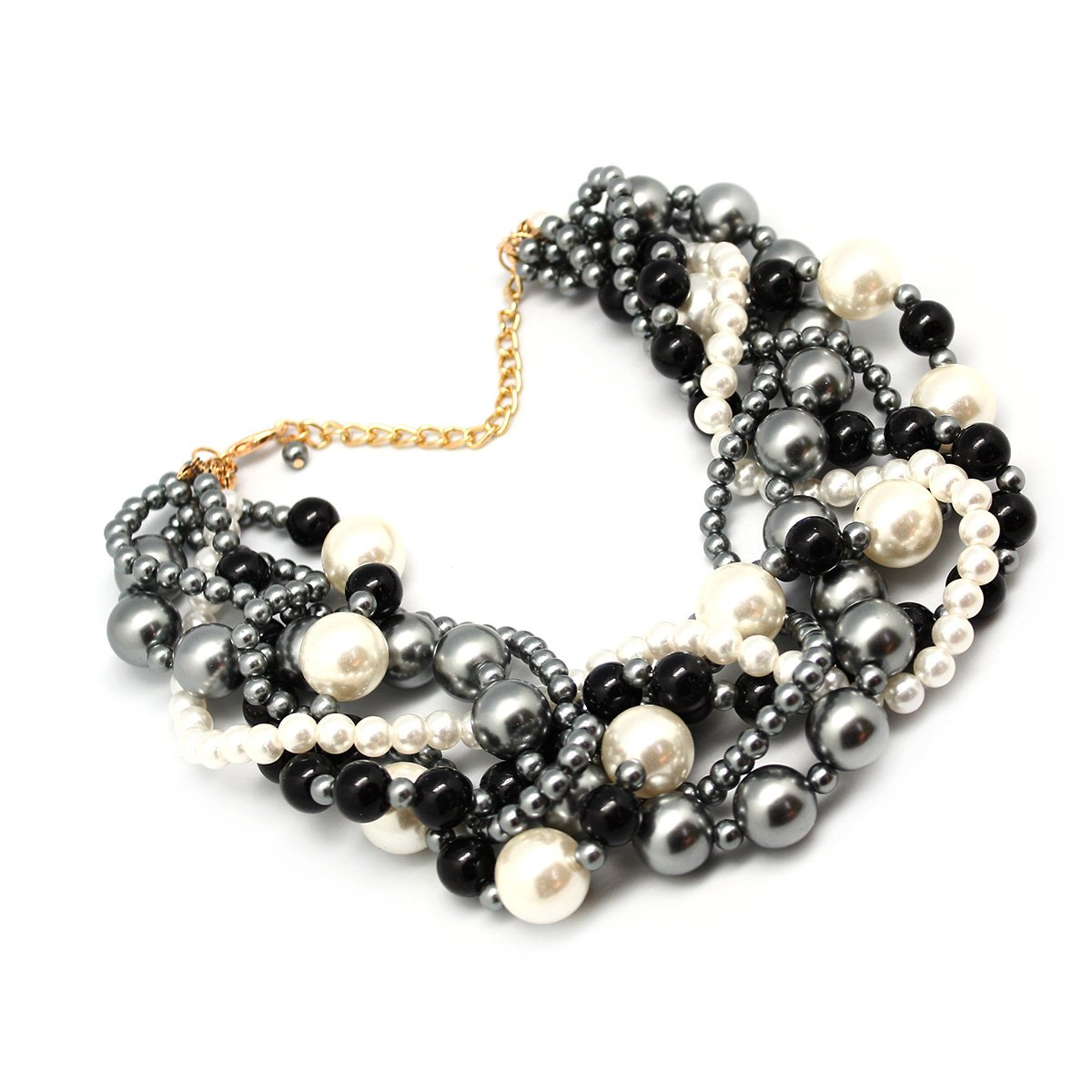 MeliMe Women's Imitation Pearl Twisty Chunky Bib Necklace Pearl Chokers for Wedding Party by MeliMe (Image #4)