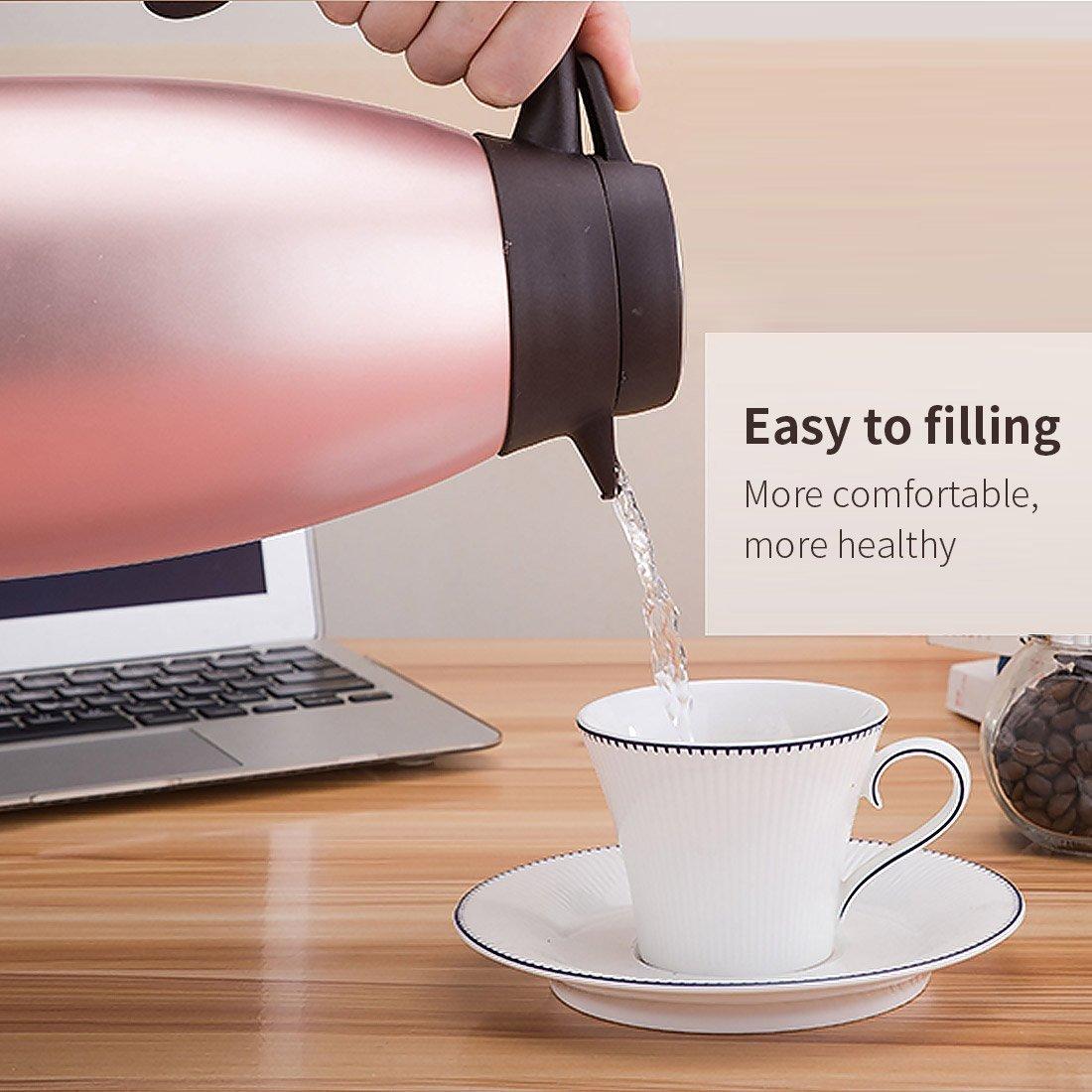 Kaffeekannen Edelstah doppelwandig vakuumisoliert Tee Isolierkanne Karaffe -2litre