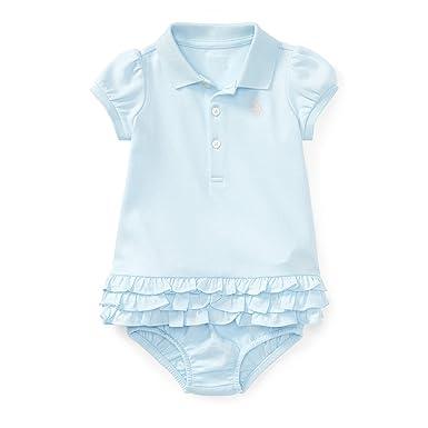 877d0ce39 RALPH LAUREN Baby Girl Ruffled Polo Dress & Bloomer Set (3 Months, Beryl  Blue