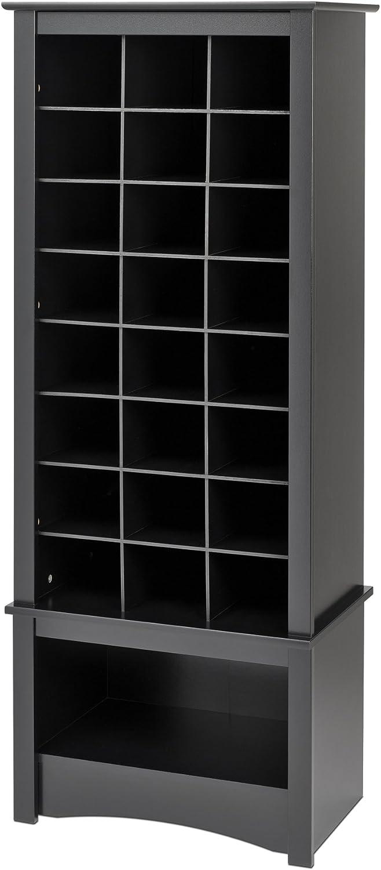 Prepac Tall Shoe Cubbie Cabinet, 24 Pair, Black