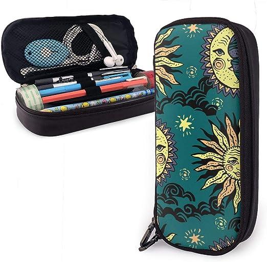 UKFaaa - Estuche de Piel para lápices con Cremallera y diseño de Sol y Luna, Negro, Talla única: Amazon.es: Hogar