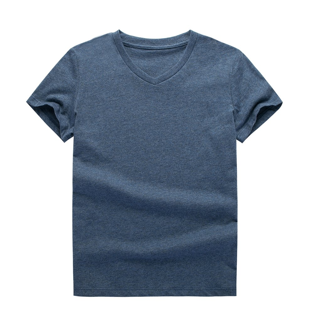 UNACOO 2 Packs 100% Cotton Short-Sleeve V-Neck T-Shirt for Boys and Girls(red+Hemp Blue, m(7-8T)) by UNACOO (Image #2)