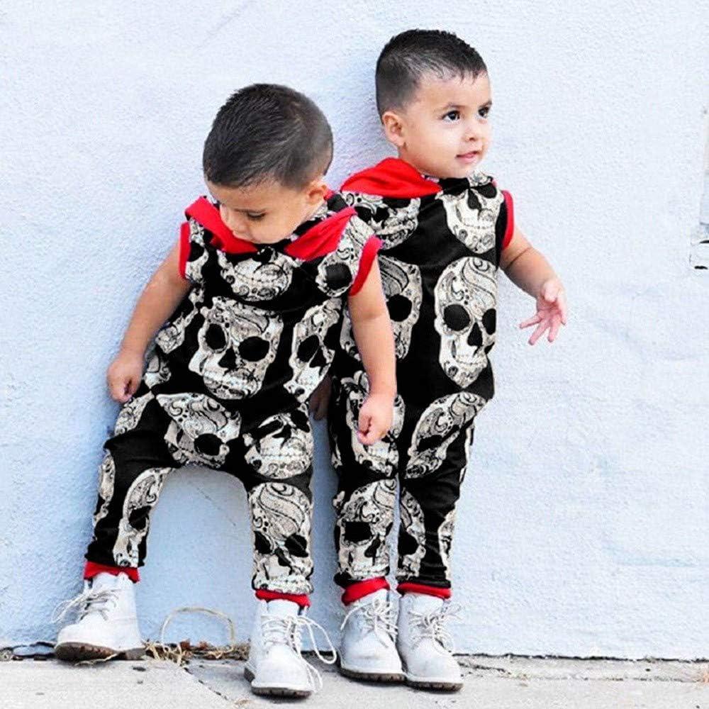 BYSTE/_Halloween Body Bambino Pagliaccetto con Cappuccio Ragazze Tutine Cranio Pigiama Neonato Felpa con Cappuccio Tuta Abito Bodysuit