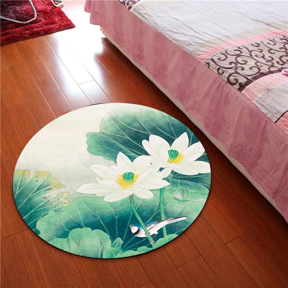 BAIBAI Runde Rutschfeste Muster Teppichgröße Optionale Größe Optionale Wasserabsorption Wohnzimmer (Muster  4, Größe  100 cm)