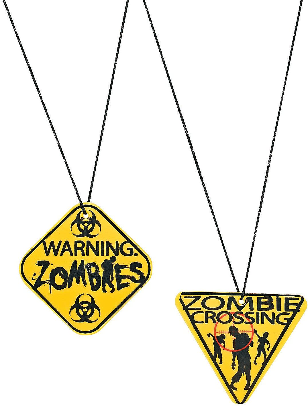 Party Supplies Zombie Warning Sign Necklaces,2-2 1//4 plastic signs,12 ct 2-2 1//4 plastic signs Fun Express